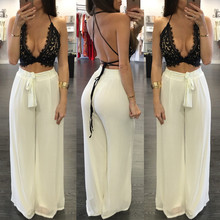 Buy 2016 summer loose two piece set women lace crop top bangdage sexy plus size women suspenders chiffon pant sets XD824 for $13.55 in AliExpress store
