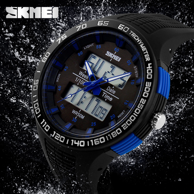 Fashion Unisex Sports Military Watches Led Digital Quartz Multi-function Dive Water Resistant Black Leather Strap Mens Watch<br><br>Aliexpress