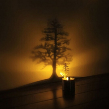 Pine Tree Dreamlike LED Shadow Projector Candle Home Bedroom Night Light Lamp Amazing Kid Chidren Gift(China (Mainland))