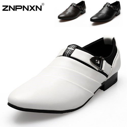 Hot Sale New Men Oxfords Shoes White PU Leather Oxfords Shoes For Men Dress Flats Shoes 2015 Fashion Wedding Shoes Size 39-44(China (Mainland))