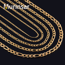 Buy Gold Filled Stainless Steel Necklace Figaro Chain Men Women Stainless Steel Gold Link Chain Necklace High for $1.27 in AliExpress store