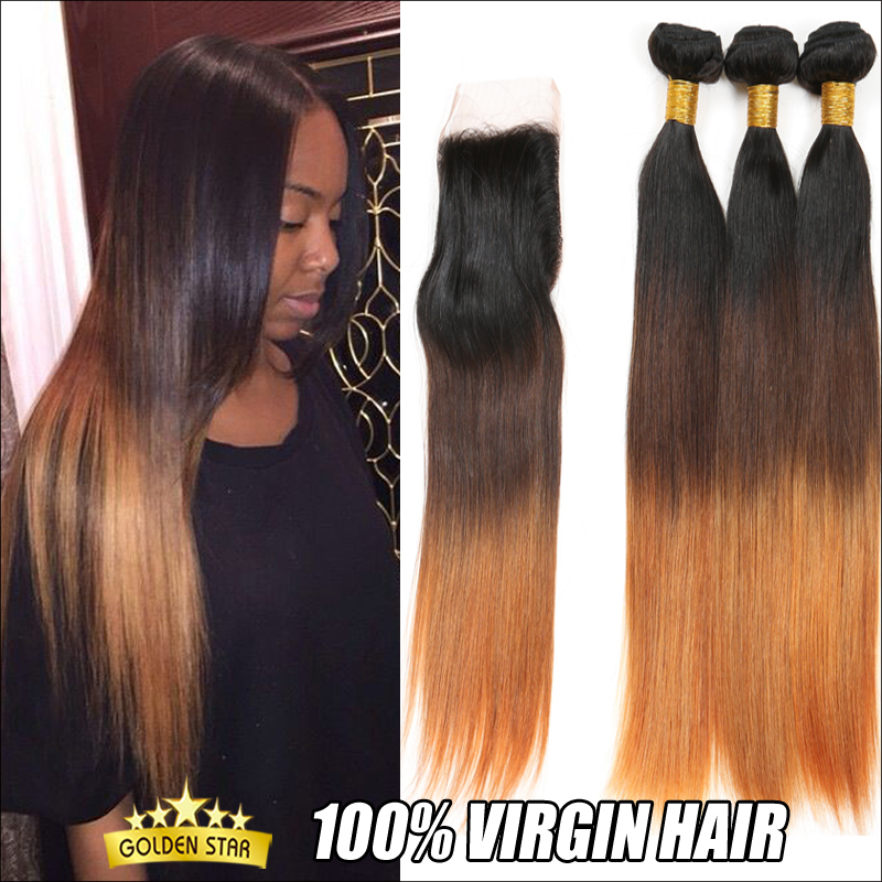 Ombre Peruvian Straight Hair With Closure 3pcs Lot Three Tone Peruvian Virgin Hair Straight Bundles Ombre Peruvian Hair Blonde