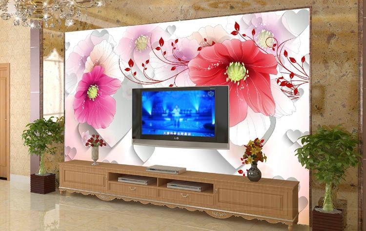 Moderno 3 d est reo sintiendo gran flor hermosa sala de for Wallpaper sala de estar
