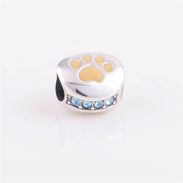 Мода стерлингового серебра 925 бусины европейский шарм собака следы дизайн DIY ювелирных изделий подходит Chamilia стиль браслет