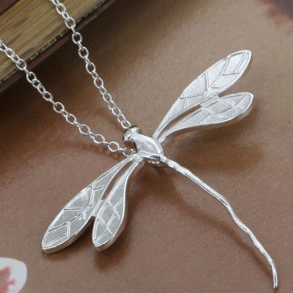 P076_2 silver plated Necklace, sterling-silver-jewelry fashion Long Dragonfly /argajina bioajzva - luckyshop er's store