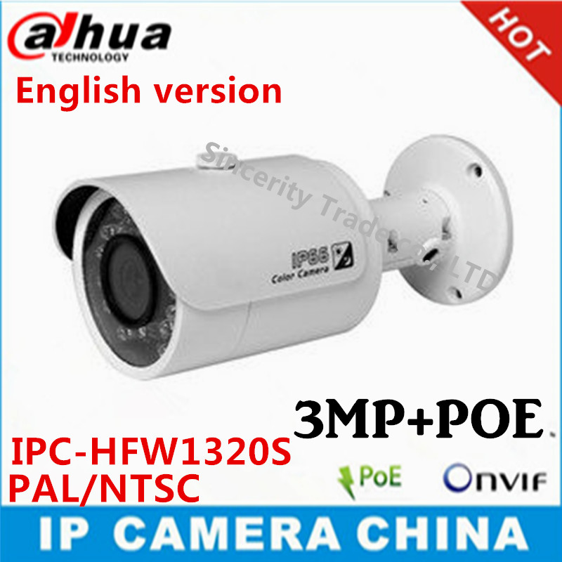 Dahua English version IPC-HFW1320S 3MP p2p camera IR 30M IP66 Network IP Camera replace of IPC- HFW4300S cctv camera(China (Mainland))