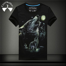 2016 Latest Design Free Shipping Summer Short Sleeve Mens Wolf Printed T-shirt 3D Animal Printed Cotton T Shirt Man MT-14619