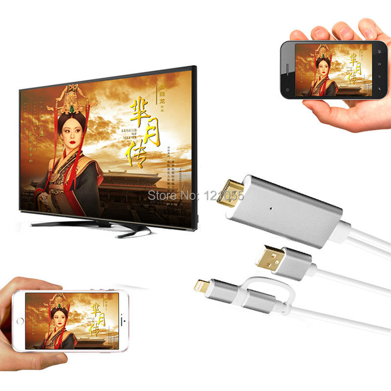 2 in 1 hdtv adapter for iphone 7 plus 6s 6 5S 5 hdmi CABLE MHL android micro USB/apple samsung S7 S6 S5 mobile phone to TV BOX(China (Mainland))