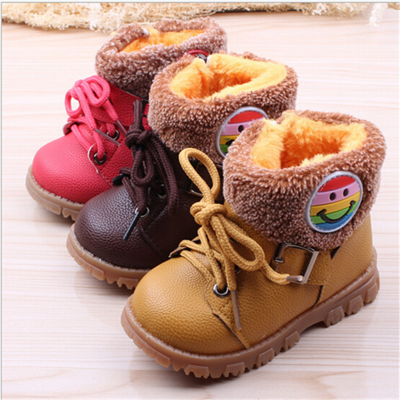 Kids Boots /2016 winter children's thick warm cotton boots PU leather soft bottom non-slip snow tendon 21-25 - Children's sports shoes stores store