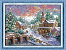 Snowscape (2)! DMC DIY 11&14CT Counted Cross Stitch Sets Kits For Needlework Embroidery Knitting Needles Handmade Patchwork(China (Mainland))