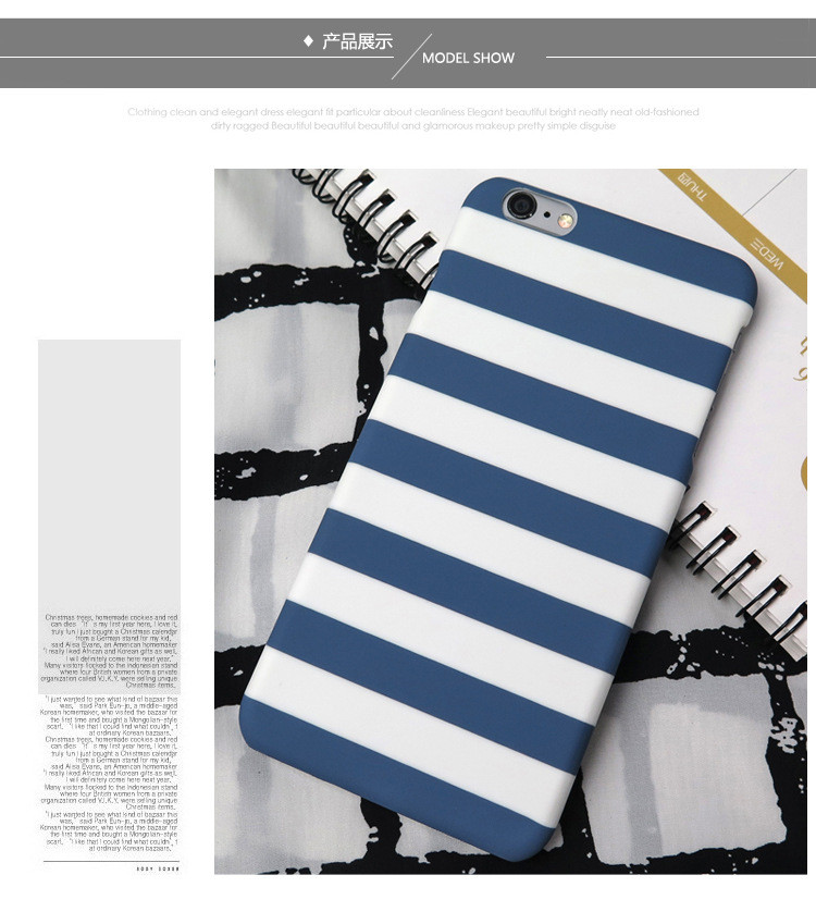 Fashion Navy Blue White Black Stripes Phone Cases for Iphone 6 6s 6 Plus 6s Plus 5s 5 SE Hard Plastic Couple Phone Covers Coque