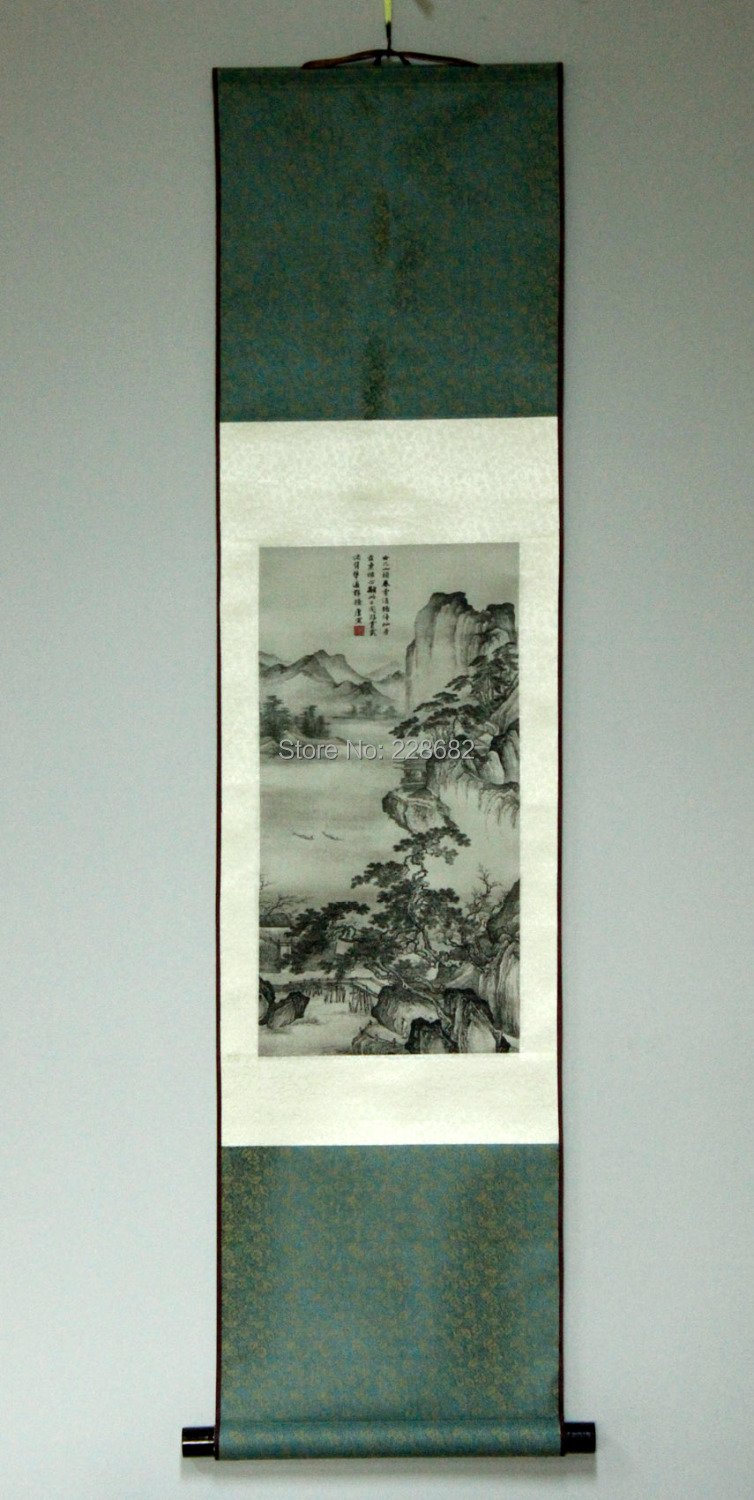 FREE SHIPPING famous Chinese 100% silk brocade scroll painting Flirting daughter Spring Hill expensive gift(China (Mainland))