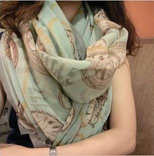 2016 новый вуаль евро-стиль марка часы часы печатные женщины шарфы оптовая продажа дамы сверхразмерные зимние шали