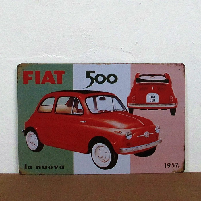 Free Shipping The FIAT 500 Car iron painting Bar pub home Wall Decor Retro art metal poster  size:20cm*30cm