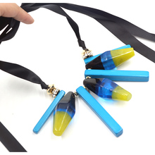 Buy collier ribbon long necklace 2016 maxi boho colar ZA flower Statement necklace charm blue resin necklaces pendant Choker jewelry for $13.99 in AliExpress store