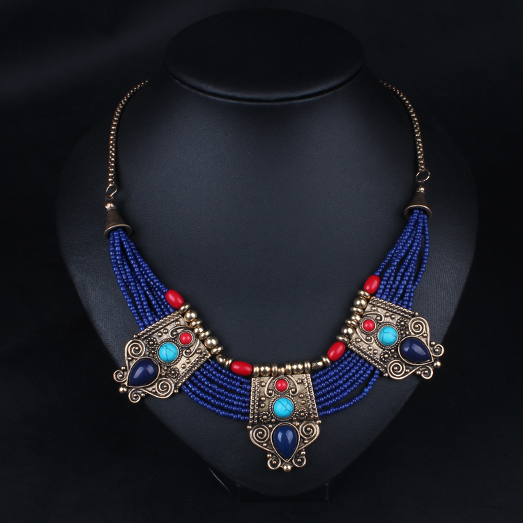 fashion necklace 2015 high quality blue rope chain created ...