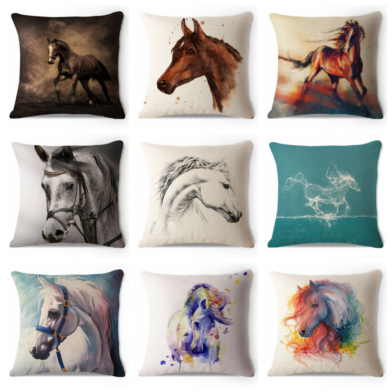 Decorative Throw Pillow Case Painting Colorful Brown White Horse Cotton Linen HEAVY WEIGHT FABRIC Sofa Chair Car Cushion Cover(China (Mainland))