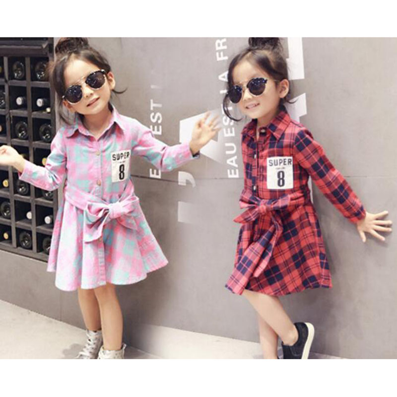 2016 Fashion Spring Autumn Baby Kids Little Girls Tops Long Sleeve Shirts Blouse 2-7 Years red plaid long blouse dress SN0055(China (Mainland))