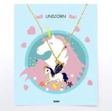 Jednorożec naszyjnik dla dzieci wisiorek złote dzieci kobieta dziewczyny chłopcy koń moda Trend karta biżuteria prezent dla dzieci kolorowe(China)