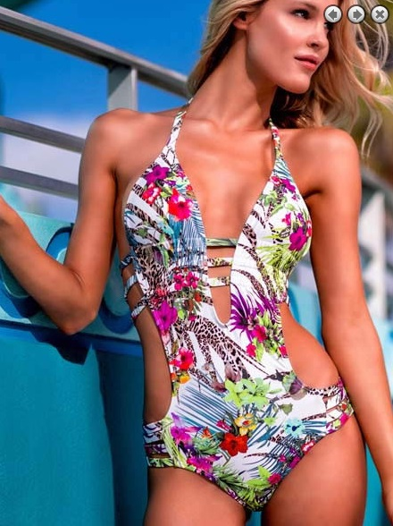 Halter One Piece Swimsuit Lace Floral Print Swimsuit Summer Beachwear Low Waist Brazilian Bathing Suit Wire Free Body Suit 2082(China (Mainland))