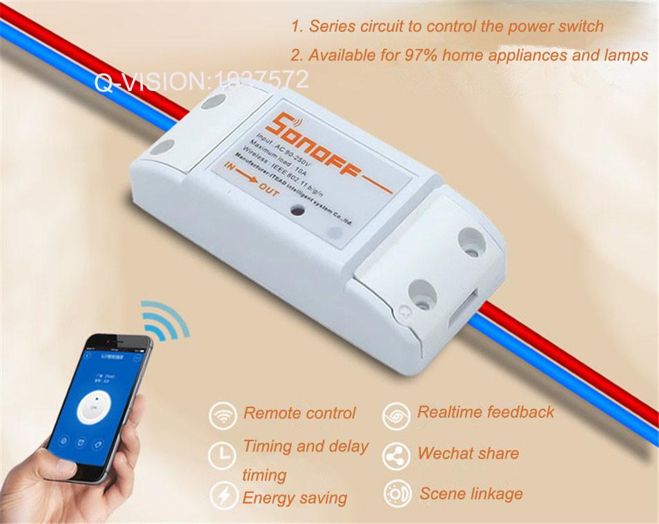 image for ITEAD Sonoff Intelligent Wifi Wireless Switch Universal Module DIY Tim