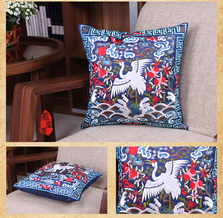 1pair/2pieces Chinese Classical Royal Style Silk Embroidered Blue Crane Cushion Covers Pillow Bag(China (Mainland))