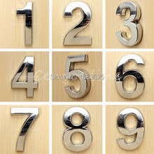 Modern Silver House Hotel Door Address Plaque Number Digits Sticker Plate Sign Size 50x30x6mm Convinient Room Gate Number(China (Mainland))