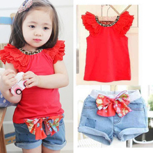 Toddler Kids Ruffled Sleeves T shirt Bowknot Pants Set Clothes Girls Outfit Sz 2 6Y