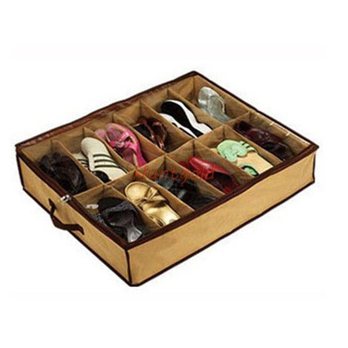 12 Pairs Shoes Fabric Storage Organizer Under Bed shoes Closet Storage Folding Bag Box(China (Mainland))