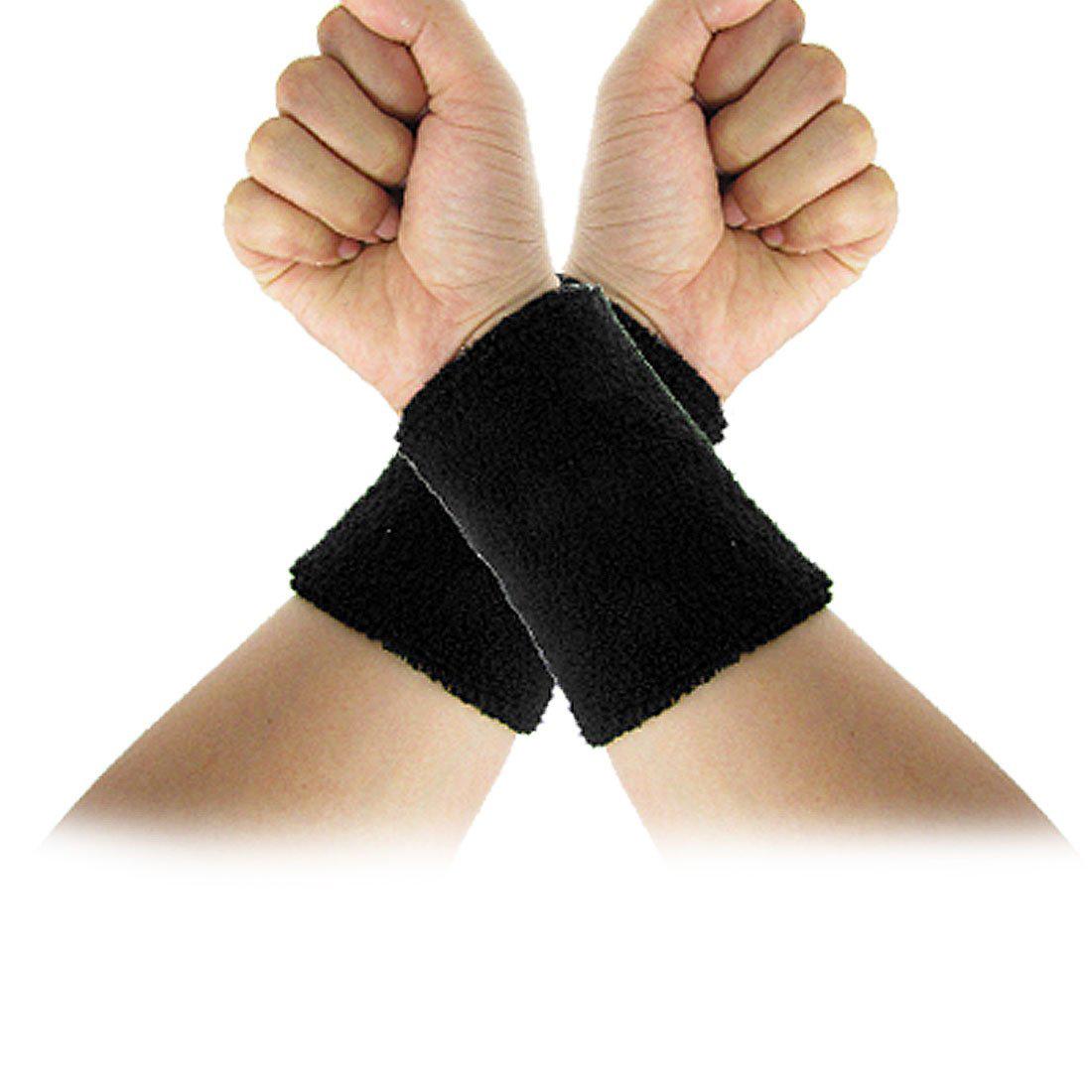 New Gift Black Elastic Terry Wrist Sweatband Sports Support 2Pcs(China (Mainland))
