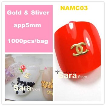 Free Shipping Brand NameDouble C Gold  Nail Art Metal Sticker Decoration 1000pcs Gold Decals Metallic Stickers Wholesales