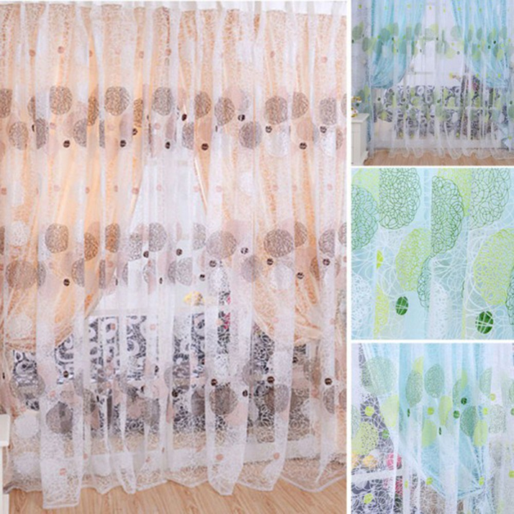 Bird sheer curtains - 1pcs Modern Sheer Panel Curtain Bird Nest Curtain Bedroom Tulle Windows Finished Blind Curtain For Living