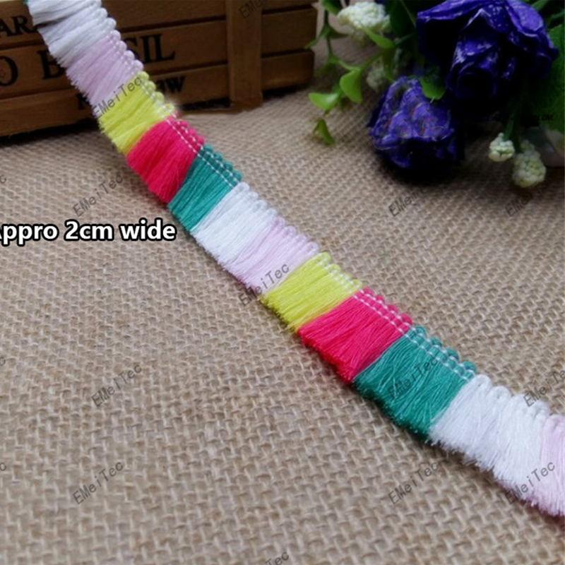 100M Colored 2CM wide Colored Small Polyester boutique tassels Macrame DIY Fringe lace home decor trims trimmings accessories(China (Mainland))