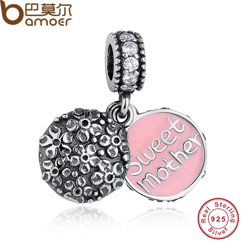 Original Sterling Silver 925 SWEET MOTHER SILVER DANGLE Pendant Fit Pandora Bracelet with Cubic Zirconia &amp; Pink Enamel PAS153<br><br>Aliexpress