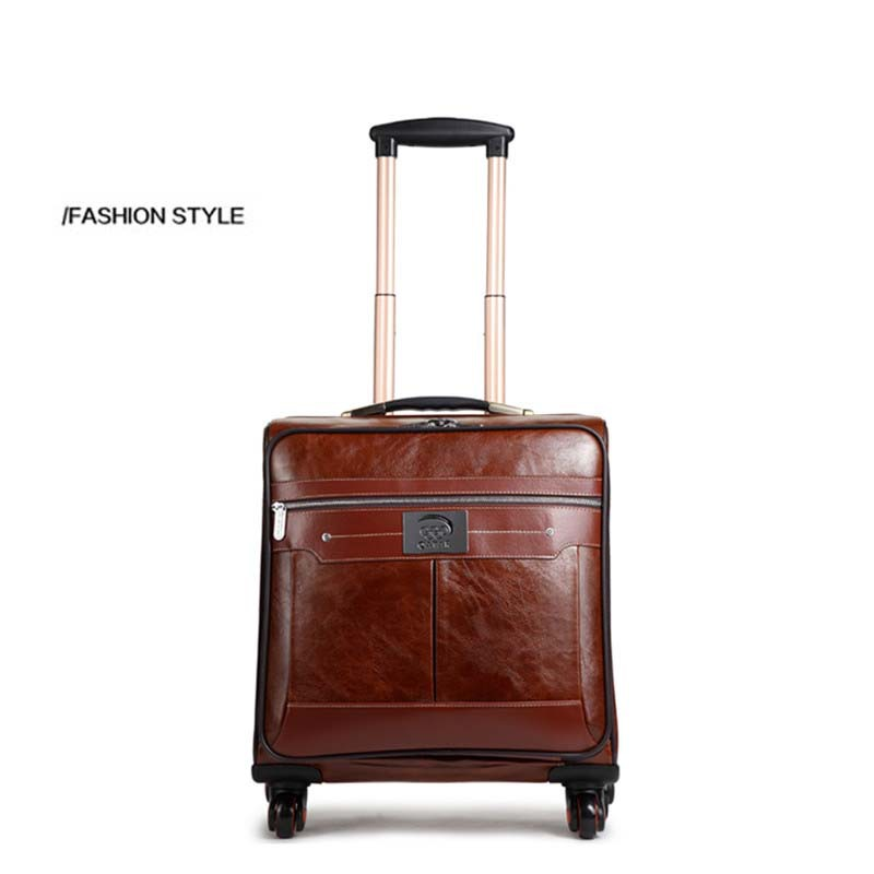 16 INCH Coffee Leather Trolley Luggage Business Trolley Case Men's Suitcase Travel Bag Free Shipping by EMS(China (Mainland))