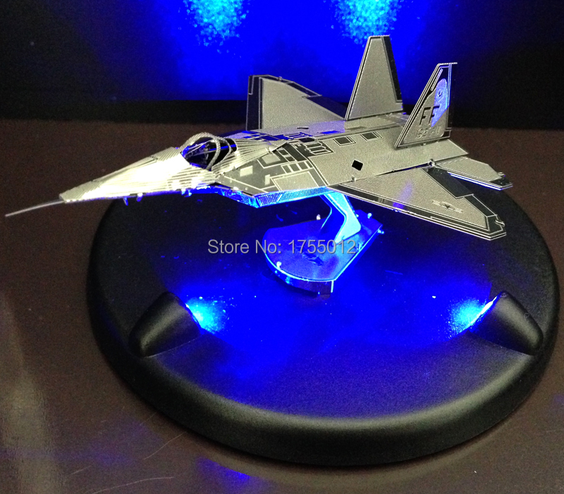 3D Puzzle Airplane 3D Metallic Jigsaw puzzle+ LED base DIY assembly puzzle toy for kids free shipping!(China (Mainland))