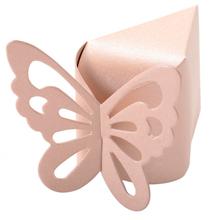 50 Pcs Butterfly Candy Boxes Style for Wedding Party Shower Pink Free Shipping