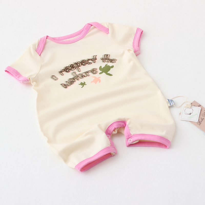 Baby Girls Short Sleeve Rompers Infant Organic Cotton Bebe Up Brand Letters Clothes Wears Wholesale Boutique Clothing 4pcs/LOT(China (Mainland))