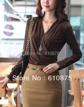 hot sale OL women's plus size fashion simple elegant 100% cotton v-neck long sleeve Slim T-shirt R93 DY G501 S3552Z(China (Mainland))