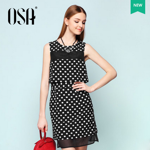 OSA 2015 Fashion Fake Two Piece Sleeveless Polka Dot Dresses For Women Summer Casual Patchwork Hit Color Slim Vestidos SL504001(China (Mainland))