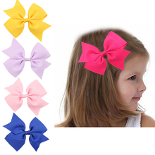 1Lot 5pcs  Baby Girl Hair Bows Clips Boutique Hair Pin Grosgrain Ribbon Bows Hairpins Kids Girl Hair Accessories w–108