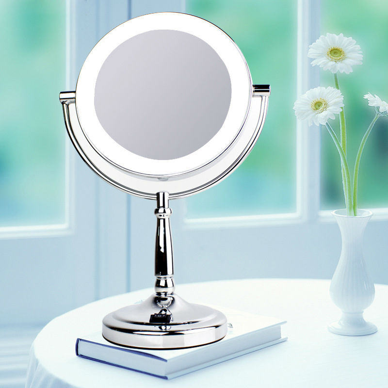 makeup mirror with light 7 inch led compact cosmetic mirror. Black Bedroom Furniture Sets. Home Design Ideas
