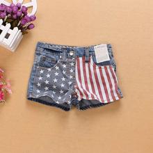 Hot sale new 2016 summer Children girls fashion denim shorts America flag short jeans female baby girls and big girls  2T-14T