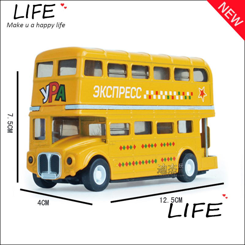 Free Shipping Alloy Double-decker Bus Models For Kids Toys Wholesale Metal Public Bus Models Three Colors Choose 1:32 Hot Sale(China (Mainland))