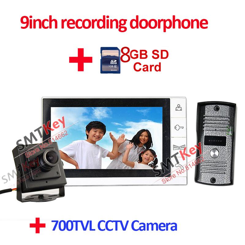 DP-998R 9 inch recording video doorphone with 700tvl cctv camera(China (Mainland))