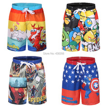 2015 new arrival fashion quick drying  board shorts beach shorts for boy with cartoon print(China (Mainland))