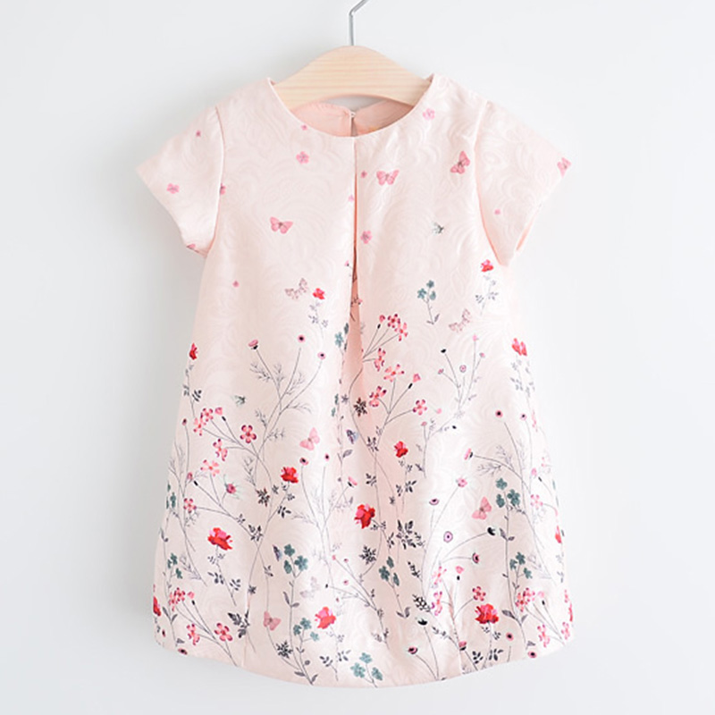 2017 New Style Summer Flower Dress Pink Cotton A-Line Short Sleeve Girls Dress Princess Costumes Girls Clothing Floral Dresses(China (Mainland))