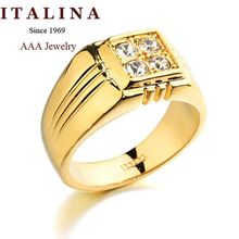 Top Quality ITALINA Brand Jewelry 18K Real Gold Plated Men Ring With AAA+ CZ Diamond Party Gift(China (Mainland))