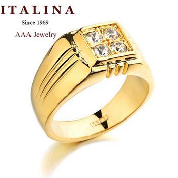 Высокое качество ITALINA ювелирный бренд 18 К настоящее позолоченные мужчины кольцо ...