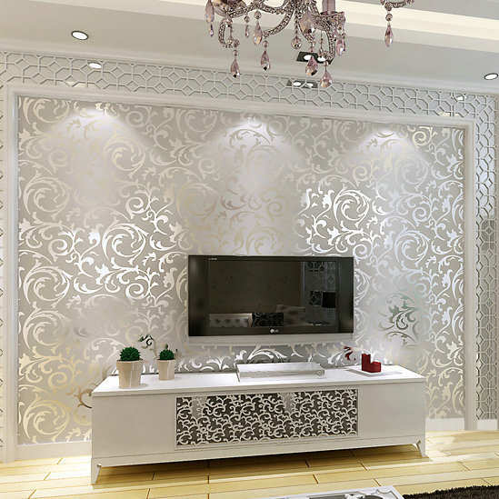 Genuine victorian glitter wallpaper 3D silver background wall wallpaper roll home decor PVC wall paper for living room bedroom(China (Mainland))